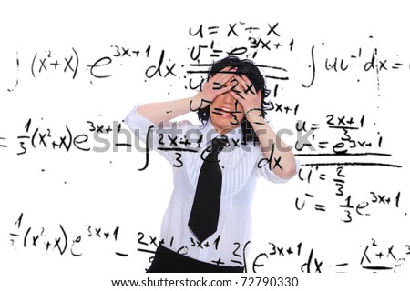 Mathematics teacher wearing glasses. - stock photo