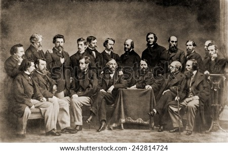 Mathew B. Brady (1823-1896), front row, far left, with the many men he hired to photograph the American Civil War. He failed to recoupe his $100,000 investment in Civil War photography. - stock photo