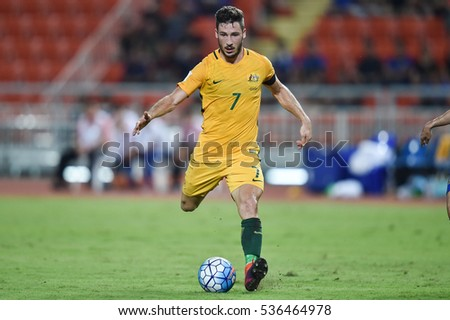 Mathew Leckie of Australia in action during the 2018 World Cup Qualifiers match between Thailand and Australia at Rajamangala Stadium on September 15, 2016 in Bangkok, Thailand