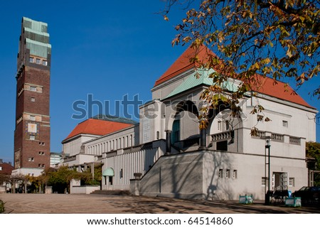 Mathildenhohe and wedding tower Darmstadt - stock photo