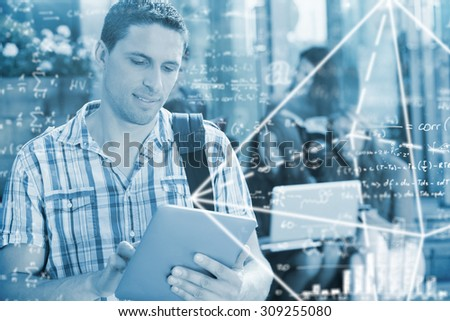Maths equation against happy student using his tablet pc on campus - stock photo