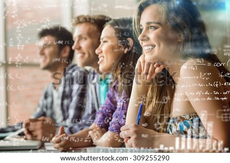 Maths equations against smiling friends students talking and writing - stock photo