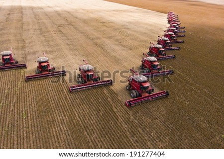 MATO GROSSO, BRAZIL - MARCH 02, 2008: Mass soybean harvesting at a farm in Campo Verde - stock photo