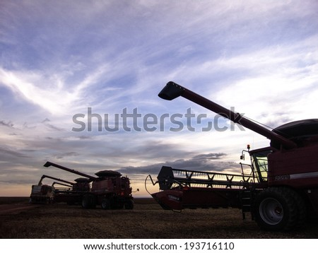 MATO GROSSO, BRAZIL - MARCH 02, 2008: Silhouette of mass soybean harvesting at a farm in Mato Grosso - stock photo