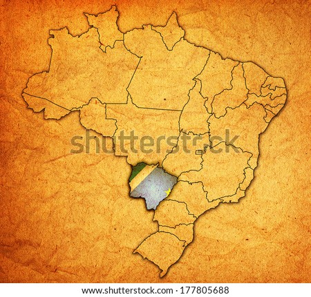 mato grosso do sul state on administration map of brazil with flags - stock photo