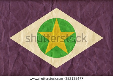 Mato Grosso flag pattern on paper texture,retro vintage style