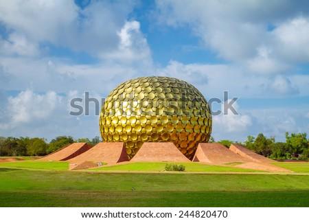 Matrimandir - Golden Temple in Auroville, Tamil Nadu, India - stock photo