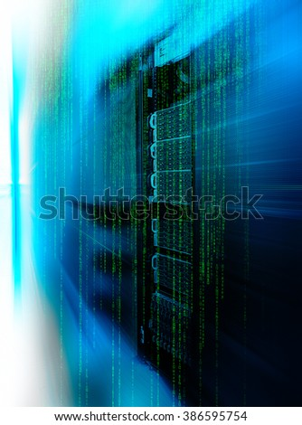 matrix code Blade server is a close-up with motiom and blur - stock photo