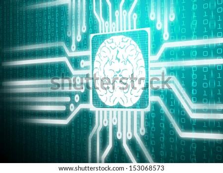 Matrix LCD screen circuit of brain symbol