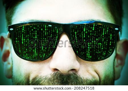 Matrix on glasses - stock photo