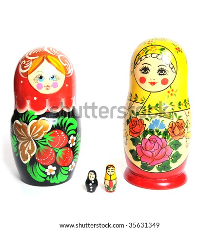 Matryoshka - Famous Russian Toy isolated on white b - stock photo