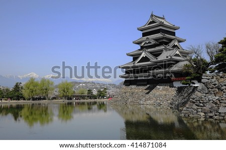 Matsumoto castle and a red bridge with mountain range in background # 4