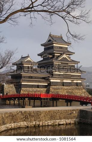 Matsumoto Castle and Bridge, Matsumoto, Japan - stock photo