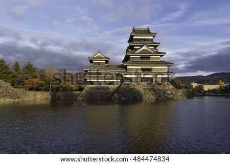Matsumoto castle Autumn leaves against blue sky in Nagono city, Japan