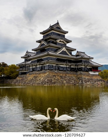 Matsumoto castle in autumn with two swans