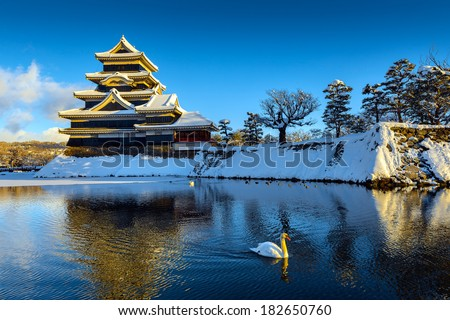 matsumoto castle in winter, japan  - stock photo