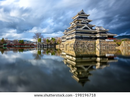 Matsumoto Castle is one of the most complete and beautiful among Japan's original castles  - stock photo