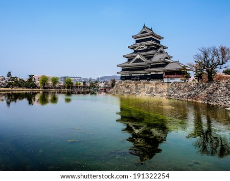 Matsumoto castle with blue sky, Matsumoto, japan - stock photo