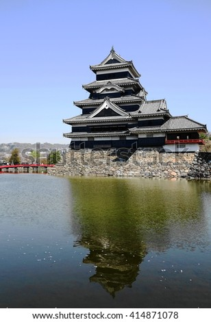 Matsumoto castle with reflection in water # 2