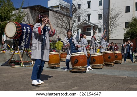MATSUMOTO, JAPAN - APRIL 13, 2013: Taiko drummers perform at the festival sake in Matsumoto April 13, 2013.