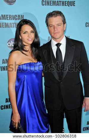 Matt Damon and wife Luciana Barroso at the 24th Annual American Cinematheque Award Ceremony Honoring Matt Damon, Beverly Hilton hotel, Beverly Hills, CA. 03-27-10
