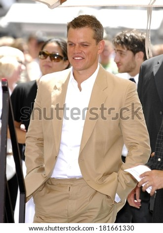 Matt Damon at the induction ceremony for STAR ON THE HOLLYWOOD WALK OF FAME for Matt Damon, Hollywood Boulevard, Los Angeles, CA, July 25, 2007