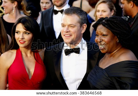 Matt Damon, Luciana Barroso and Whoopi Goldberg at the 88th Annual Academy Awards held at the Hollywood & Highland Center in Hollywood, USA on February 28, 2016. - stock photo