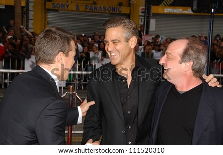 "Matt Damon with George Clooney and David Paymer at the North American Premiere of ""Ocean's Thirteen"". Grauman's Chinese Theatre, Hollywood, CA. 06-05-07 - stock photo"