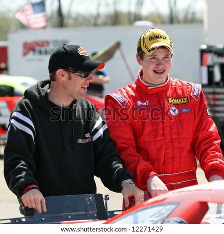 Matt Kenseth and son Ross Kenseth at Madison International Speedway opener May 4, 2008 - stock photo