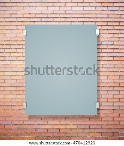 Matte glass plate on red brick wall background. Mock up, 3D Rendering