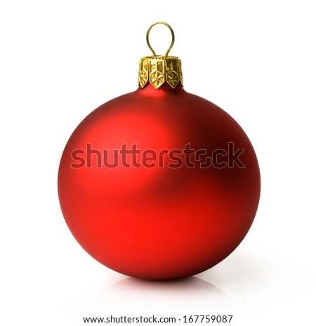 Matte red Christmas ball isolated on white