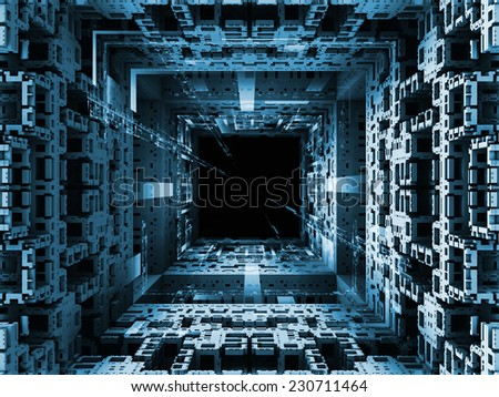 Matter Can Dream series. Abstract design made of fractal frames and graphic elements on the subject of imagination, technology and design - stock photo