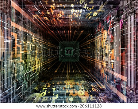 Matter Can Dream series. Arrangement of fractal frames, graphic elements and numbers on the subject of imagination, technology and design - stock photo