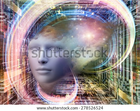 Matter Can Dream series. Background composition of  fractal frames, graphic elements and human head to complement your layouts on the subject of imagination, technology and design - stock photo