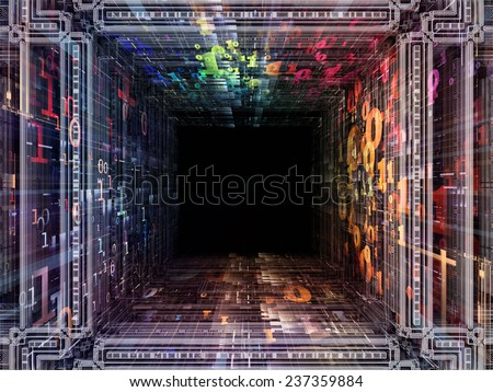 Matter Can Dream series. Composition of fractal frames, graphic elements and numbers on the subject of imagination, technology and design - stock photo