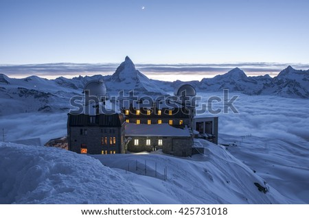 Matterhorn and Swiss Alps from Gornergrat, Zermatt, Switzerland.