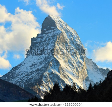 Matterhorn as seen from Zermatt at sunset, Switzerland - stock photo