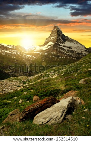 Matterhorn in the sunset - Swiss Alps - stock photo