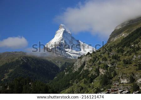 Matterhorn Mountain at Zermatt. Switzerland - stock photo