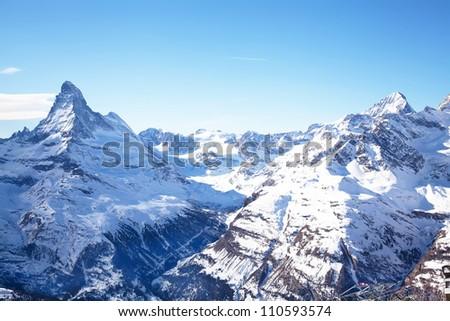 Matterhorn mountain peak in Zermatt Switzerland - stock photo
