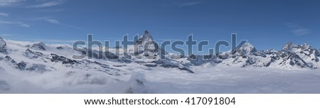Matterhorn panorama - the most famous landmark in Swiss Alps mountains