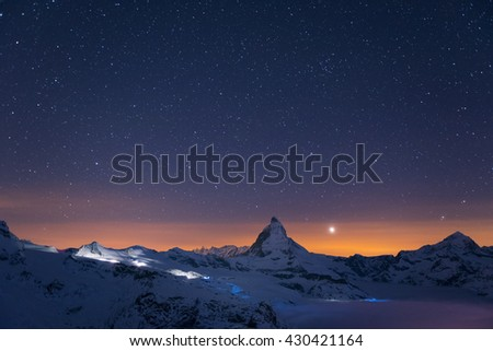 Matterhorn peak at night time, Zermatt, Switzerland
