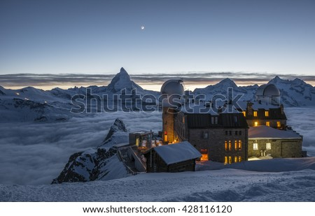 Matterhorn peak at twilight time, Zermatt, Switzerland