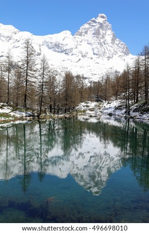 Matterhorn peak in Breuil-Cervinia with Lake Blue. Valtournenche. Aosta Valley. Italy