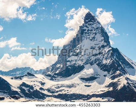 Matterhorn peak in sunny day view from gornergrat train station, Zermatt, Switzerland.