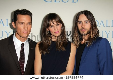 """Matthew McConaughey, Jennifer Garner and Jared Leto at the """"Dallas Buyers Club"""" Los Angeles Premiere, Academy of Motion Picture Arts and Sciences, Beverly Hills, CA 10-17-13 - stock photo"""