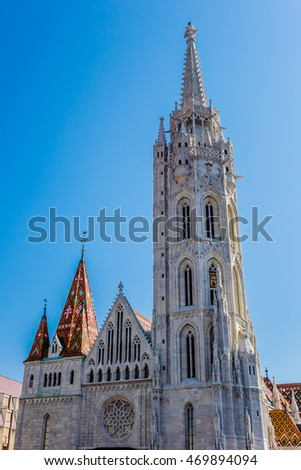 Matthias Church (Church of Our Lady of Buda) - Roman Catholic church located in Budapest, Hungary, in front of Fisherman's Bastion - one of the landmarks of the city.