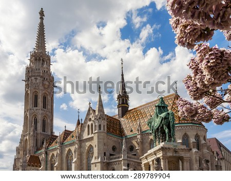 Matthias Church is a Roman Catholic church in the Romanesque style, located in Budapest, Hungary - stock photo