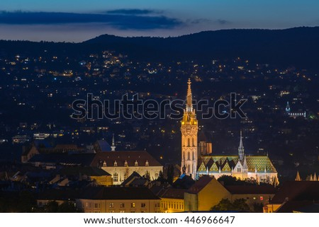 Matthias Church with mountain in the background.