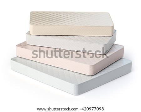 Mattress isolated on white background. Stack of orthopedic mattresses of different colors and sizes. 3d illustration - stock photo